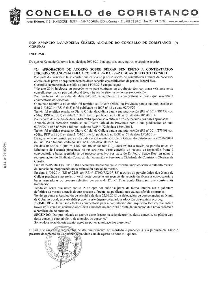 Acordo de Xunta de Goberno local sobre a praza de aparellador do ano 2014